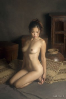 Asian brunette is showing her sweet tits