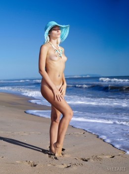 Wonderful blonde loves having solo on the beach