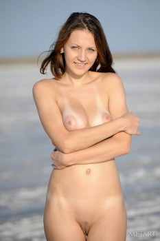 Hot babe gets rid of her sexy T-shirt at the seaside.