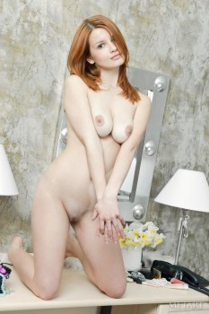 Redhead girl is practicing awesome solo with pleasure