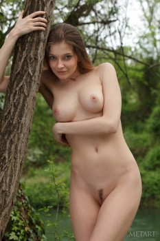 She will show you her awesome trimmed pussy outdoors