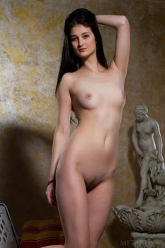 Adorable brunette is having sweet solo