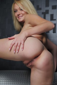 Ideal blondie plays with shaved pussy.