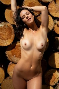 Slender shaped brunette with cute boobs poses on logs